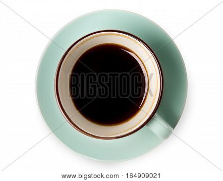 Espresso or americano, black coffee cup top view closeup isolated on white background. Cafe and bar, barista art concept.