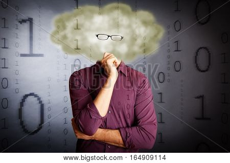 an IT guy with a cloud for a head and flying digital numbers, illustrating 'cloud computing'