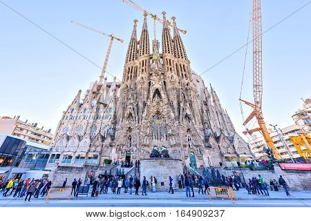 BARCELONA SPAIN - November 09, 2016: La Sagrada Familia, Nativity Facade - the famous cathedral that is designed by Gaudi, which is being build since 19 March 1882