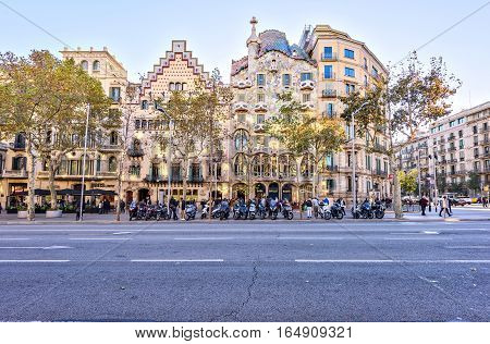 Barcelona, Spain - November 9, 2016.: Facade Casa Batllo, designed by the famous architect Antoni Gaudi. Passeig de Gracia Located in the Eixample district