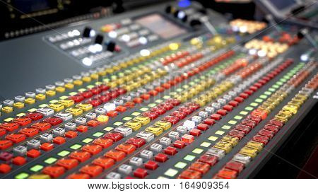 Broadcasting in the studio, professional mixing sender color buttons