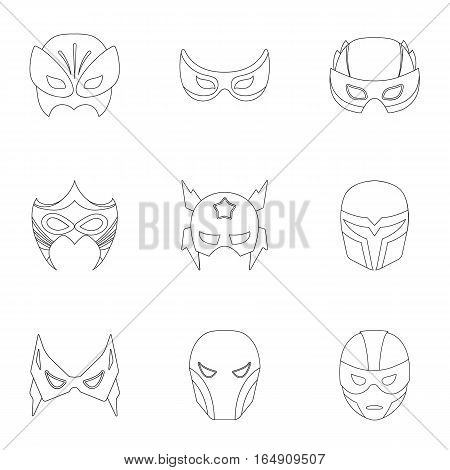 Superhero mask set icons in outline style. Big collection of superhero mask vector symbol stock