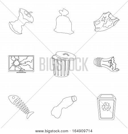Trash and garbage set icons in outline design. Big collection of trash and garbage vector symbol stock illustration