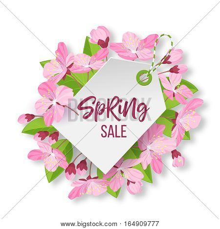 Spring sale lettering .Pink spring flowers framed sale tag. Cartoon style vector illustration isolated on white background
