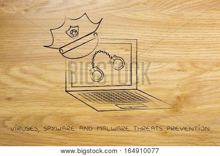 Laptop With Police Hat & Handcuffs, Against Piracy Or Cyber Crime