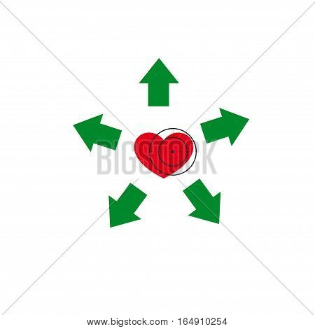 Vector illustration. The emblem logo. Heart under a sight. Healthy lifestyle. Five arrows diverge from the heart.