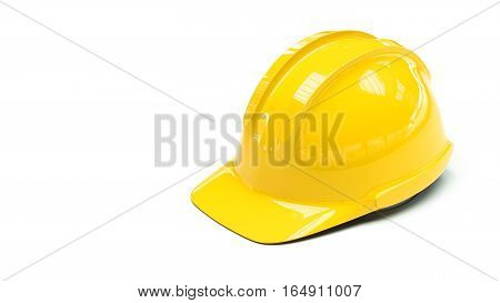 yellow protective helmet on white background with copy space on left side 3d illustration