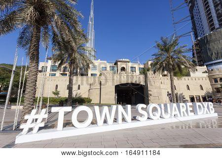 DUBAI UAE - NOV 30 2016: Dubai Town Square Twitter Hashtag in the street of Dubai Downtown. United Arab Emirates Middle East