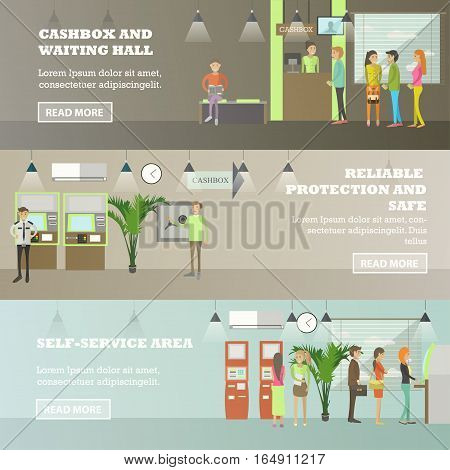 Vector set of banking concept horizontal banners. Cashbox and waiting hall, Reliable protection and safe, Self-service area design elements in flat style.