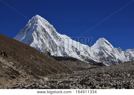 Majestic mount Pumo Ri, high mountain in the Everest National Park.