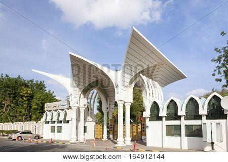 AL AIN UAE - NOV 29 2016: Entrance gate to the Hili Archaeological Park in the city of Al Ain. Emirate of Abu Dhabi United Arab Emirates