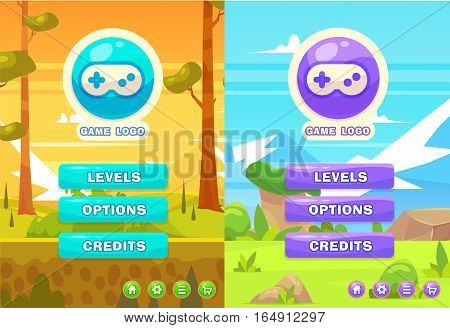 Main game menu and nature background. Set of cute elements for mobile games and web design. Vector stock illustration