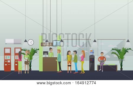 Vector set of banking concept design elements in flat style. Customers carrying out operations with self-service terminal. Bank teller serving clients. Waiting hall.