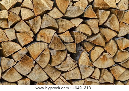 Pile of chopped firewood prepared for winter, Lakatnik, Bulgaria
