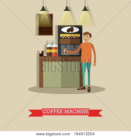 Vector illustration of coffee automatic machine and man making coffee. Coffee making equipment concept design element in flat style.