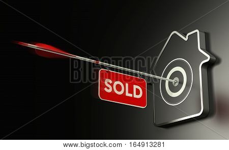 3D illustration of at home shaped target over black background and one arrow in the center with a sign where it is written the word sold. Concept of real estate