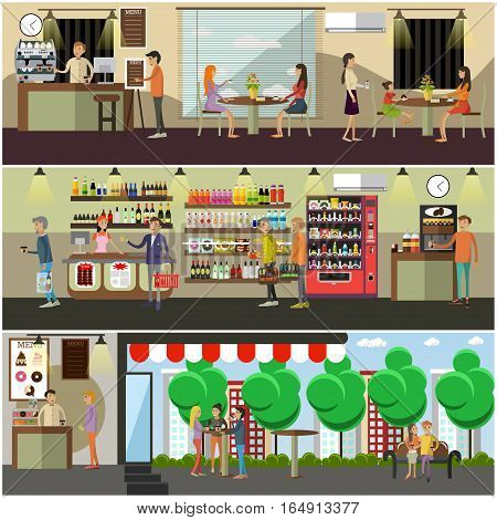 Vector set of coffee shop, coffee house, cafe interior, street cafe with buyers, sellers design elements, posters, banners in flat style.