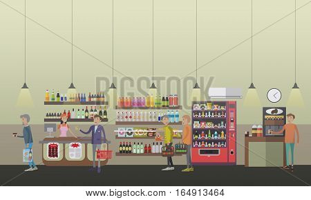 Vector illustration of salesgirl, people shopping, making coffee using coffee machine, food machine. Coffee shop concept design elements in flat style.