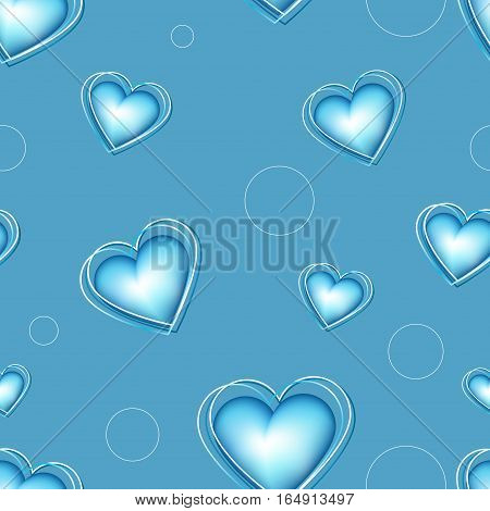 Blue Volume Hearts Pattern.