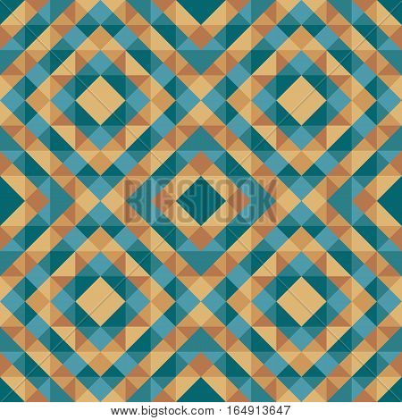Abstract geometric background - seamless vector pattern in green blue and gold brown colors. Ethnic boho style. Mosaic ornament structure. Carpet fragment.