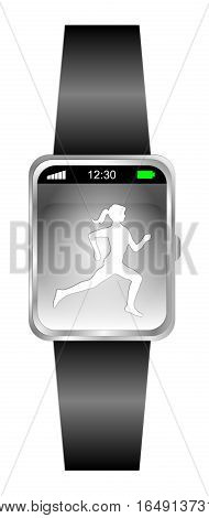 Smartwatch with female runner jogger - 3D illustration