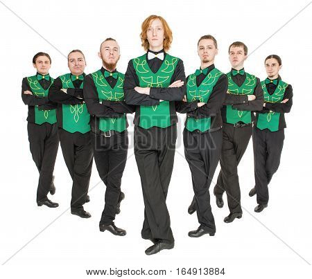 Group of irish dancer isolated on white