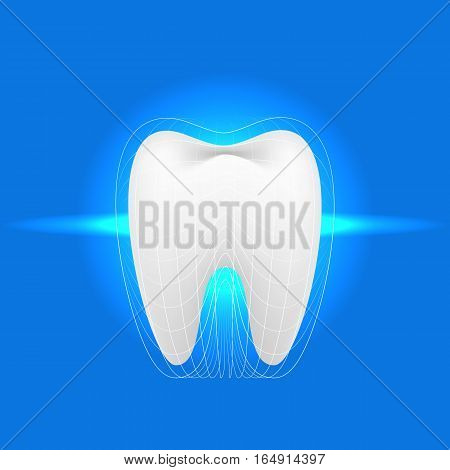 Tooth on a blue background. Vector illustration