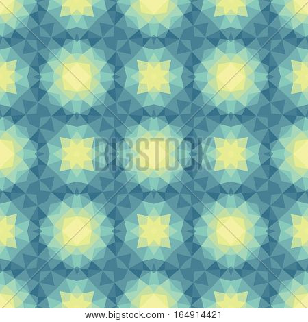Abstract geometric background - seamless vector pattern in green and yellow colors. Ethnic boho style. Mosaic ornament structure. Carpet fragment.