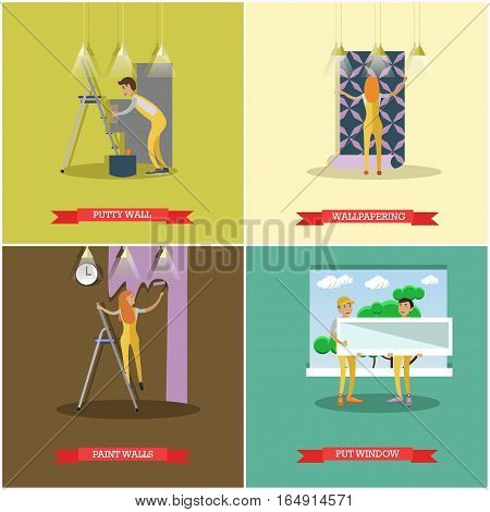 Vector set of construction and repairing house concept posters, banners. Putty wall, wallpapering, Painting and Put window design elements in flat style.