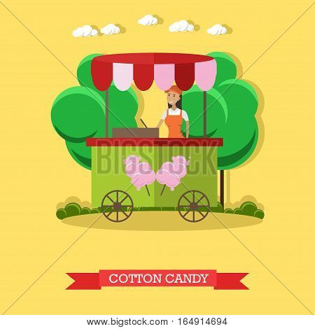 Vector illustration of cotton candy trolley and salesgirl. Retail place. Cartoon character. Amusement park concept design element in flat style.