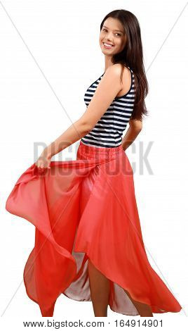 Beuty Young Woman in a Red Long Skirt - Isolated