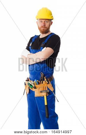 Man Builder In The Uniform With Construction Belt