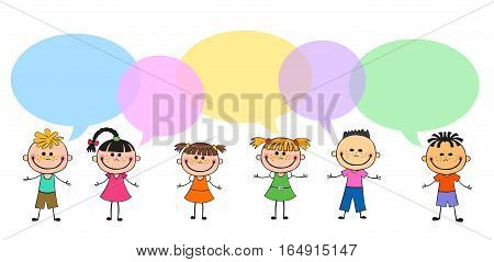 Vector brochure backgrounds with cartoon children. balloon template design. Courtesy lesson for children rights to the banner advertisement for children illustration isolated