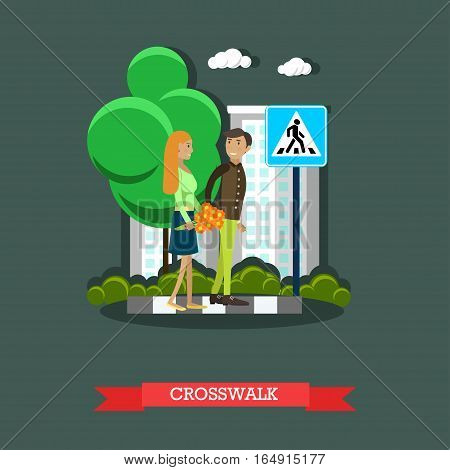 Street traffic, crosswalk concept vector illustration in flat style. People couple crossing street, road sign, pedestrian crossing.