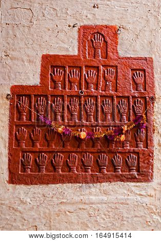 Fragment of a bas-relief on the wall in Mehrangarh Fort Jodhpur Rajasthan India
