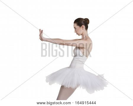 Scared ballerina portrait against white background, isolated. Professional dancer in tutu skirt stop something. Protest gesture