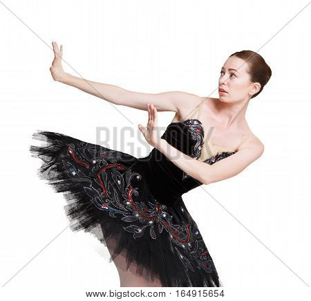 Scared ballerina in black swan dress against white background, isolated. Professional dancer in tutu skirt scared, afraid of something. Violence concept