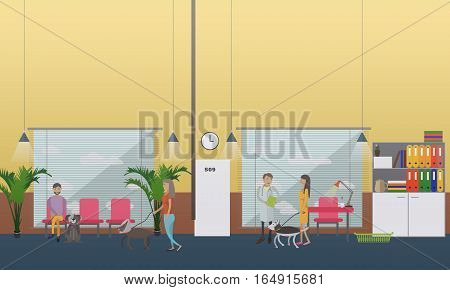 Vector illustration of veterinary surgeon, clients with their pets dogs. Vet clinic services concept design element in flat style.