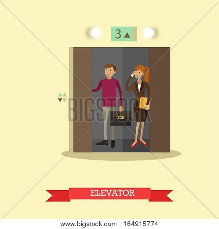 Vector illustration of business people in office building elevator. Flat style design.