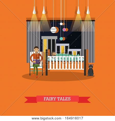 Vector illustration of father reading his child fairy tales at night. Bedtime stories. Family concept design element in flat style.