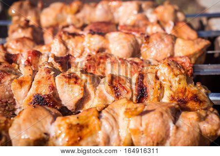 Pork shish kebab on skewers roasted on grill. Close-up.