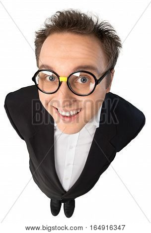 Young Man With Glasses In Suit Standing Top-down View - Isolated