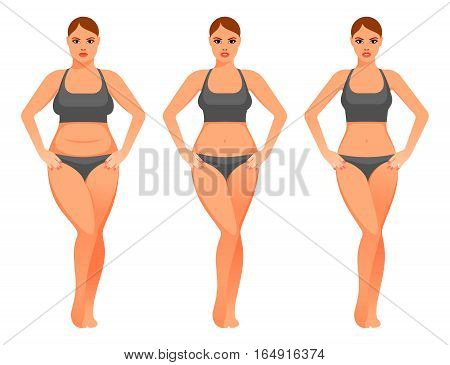 Illustration of pretty woman before and after diet.