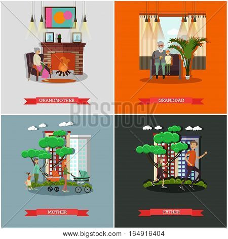 Vector set of family concept posters in flat style. Grandmother, granddad, Mother and Father design elements.
