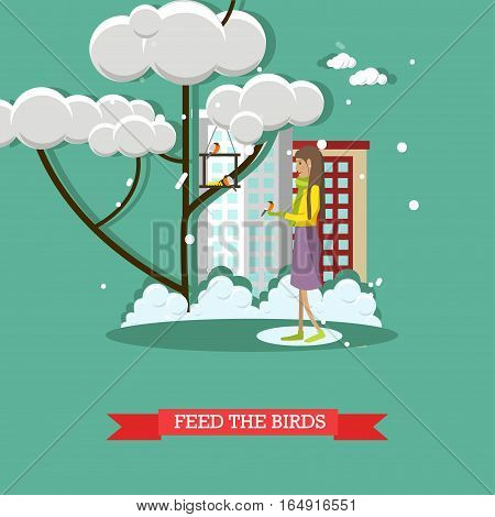Vector illustration of girl feeding birds. Winter people activities concept design element in flat style.