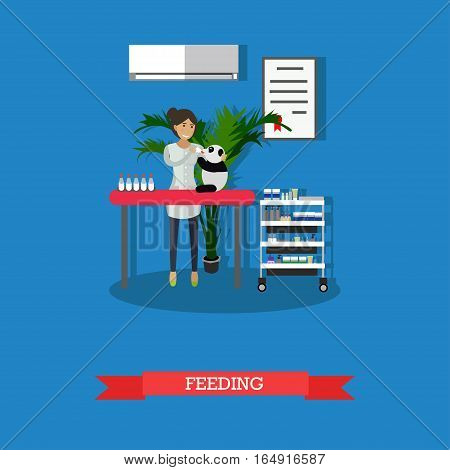 Vector illustration of vet woman feeding little panda in clinic. Vet clinic services concept design element in flat style.