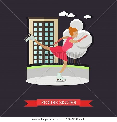 Vector illustration of Figure Skater woman training at skating rink. Cartoon character. Winter sports concept design element in flat style.