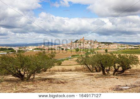 Scenic view over Artajona town. Navarre Spain