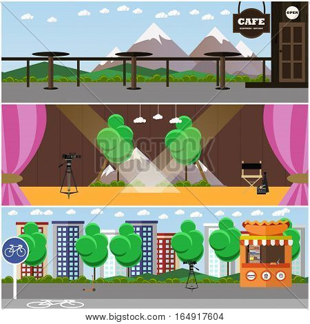 Vector set of photo, video interior concept backgrounds, posters, banners in flat design. Cafe on mountain, theater stage, city street, professional cameras.
