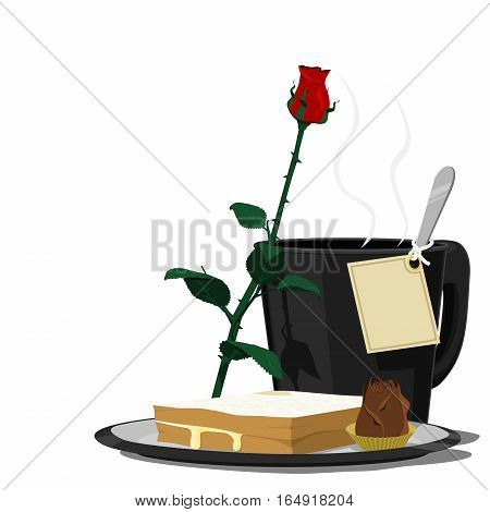 set of care meal with blank greeting card for your wording